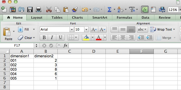 CSV file for data import